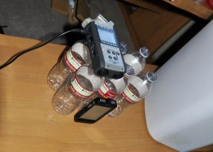 Zoom recorder on top of (mostly) empty water bottles. Please always recycle.